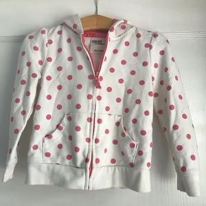 Pink and white polka dot hoodie by Osh Kosh